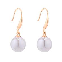 韩版时尚小圆球珍珠耳环(灰色)