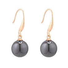 韩版时尚小圆球珍珠耳环(黑色)