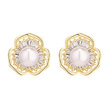AAA级锆石耳环--花蕊珍珠(14K金)