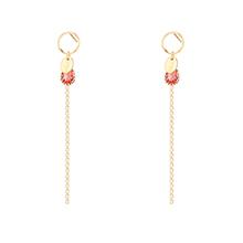 奥地利水晶耳环--流苏(玫红)