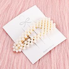 韩版简约清新镂空长三角形珍珠发夹
