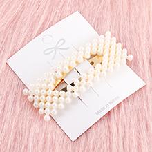 韩版简约清新镂空长方形珍珠发夹