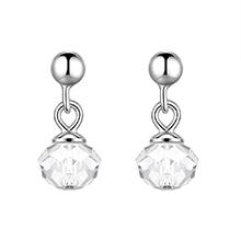S925纯银水晶耳环--彩灯(白色)