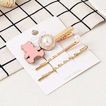 韩版简约可爱小熊发夹套装(粉色)