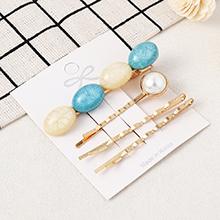 韩版简约时尚复古发夹套装(白+蓝)