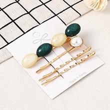 韩版简约时尚复古发夹套装(白+绿)