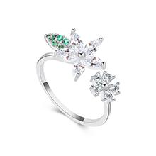 AAA级锆石戒指--花草树叶(白金+白色)