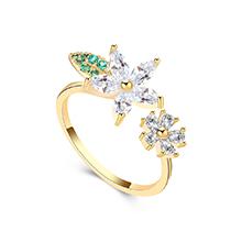 AAA级锆石戒指--花草树叶(14K金+白色)