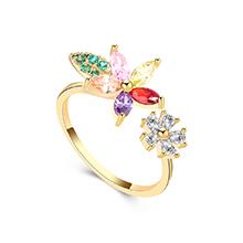 AAA级锆石戒指--花草树叶(14K金+彩色)
