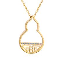 AAA级锆石项链--吉祥葫芦(14K金)