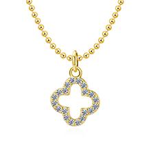 AAA级锆石项链--四叶草(14K金)