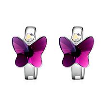 奥地利水晶耳环--比翼双飞(紫色)