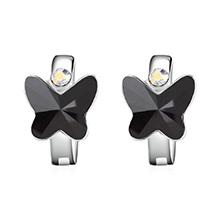 奥地利水晶耳环--比翼双飞(黑色)