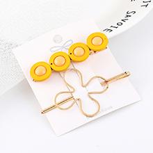 韩版时尚复古简约四生花朵发夹套装(黄色)