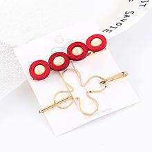 韩版时尚复古简约四生花朵发夹套装(红色)