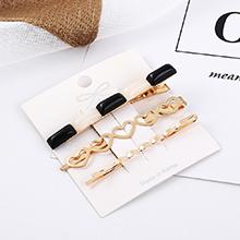 韩版小清新时尚气质小心心发夹套装(白+黑)