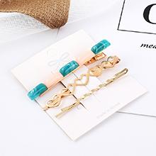 韩版小清新时尚气质小心心发夹套装(粉+青)