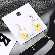 欧美气质时尚大牌镀真金花朵珍珠流苏S925银针(14K金)