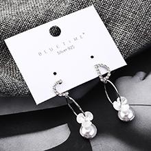 欧美时尚个性百搭镀真金字母花朵珍珠S925银针