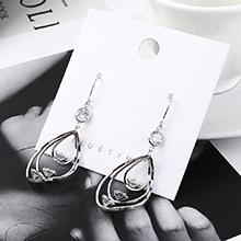 欧美百搭时尚个性镀真金三圈镂空耳环