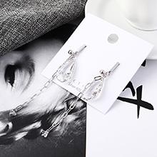 韩版气质大牌时尚镀真金流苏S925银针(白金)