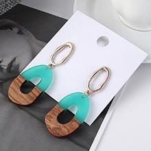 韩版冷淡风时尚简约镂空木头耳环(青色)