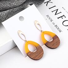 韩版冷淡风百搭圆圈木头耳环(黄色)