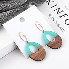 韩版冷淡风百搭圆圈木头耳环(青色)