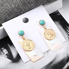 欧美百搭时尚气质头像耳环(青色)