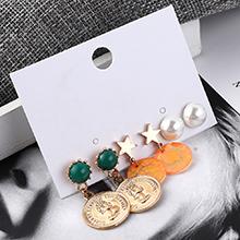 韩版时尚百搭头像印章耳环套装(绿+橘黄)