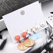 韩版时尚百搭头像印章耳环套装(红+蓝)
