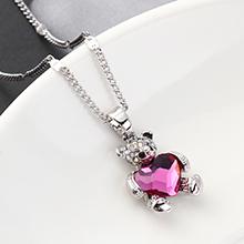 奥地利水晶项链--熊抱心(紫红)