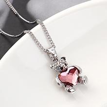 奥地利水晶项链--熊抱心(古典粉红)