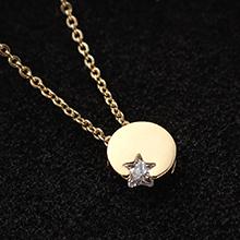 AAA级锆石项链--星月(14K金)