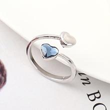 奥地利水晶戒指--心心之恋(牛仔蓝)