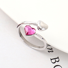 奥地利水晶戒指--心心之恋(紫红)