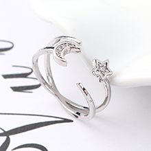 AAA级锆石戒指--追星拱月(白金)