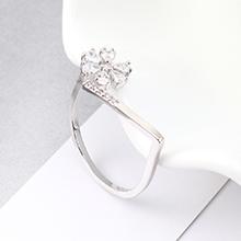 AAA级锆石戒指--繁花似锦(白金)