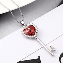 奥地利水晶项链--心房之钥(水莲红)