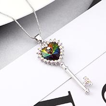 奥地利水晶项链--心房之钥(七彩)