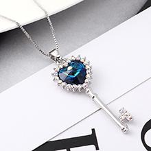 奥地利水晶项链--心房之钥(蓝光)