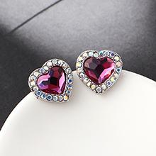 奥地利水晶耳钉--心上人(紫红)