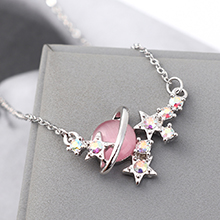 进口水晶猫眼石A款项链--星光色彩(粉色)