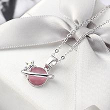 进口水晶猫眼石B款项链--星光色彩(粉色)