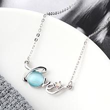 进口水晶猫眼石C款项链--星光色彩(浅蓝)