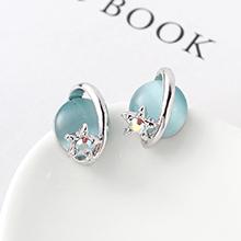 S925银针猫眼石B款耳环--星光色彩(浅蓝)