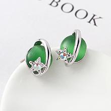 S925银针猫眼石B款耳环--星光色彩(橄榄)