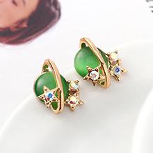 S925银针猫眼石A款耳环--星光色彩(香槟金+橄榄)