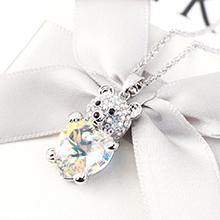 奥地利水晶项链--小熊心(彩白)