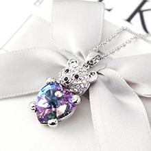 奥地利水晶项链--小熊心(紫光)